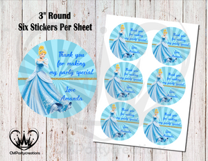 "Cinderella 3"" Round Thank You Stickers"