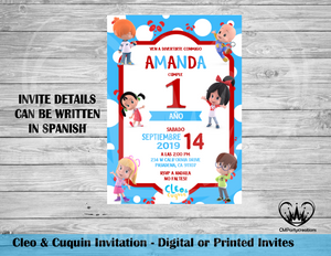 Cleo and Cuquin Invitation English Espanol