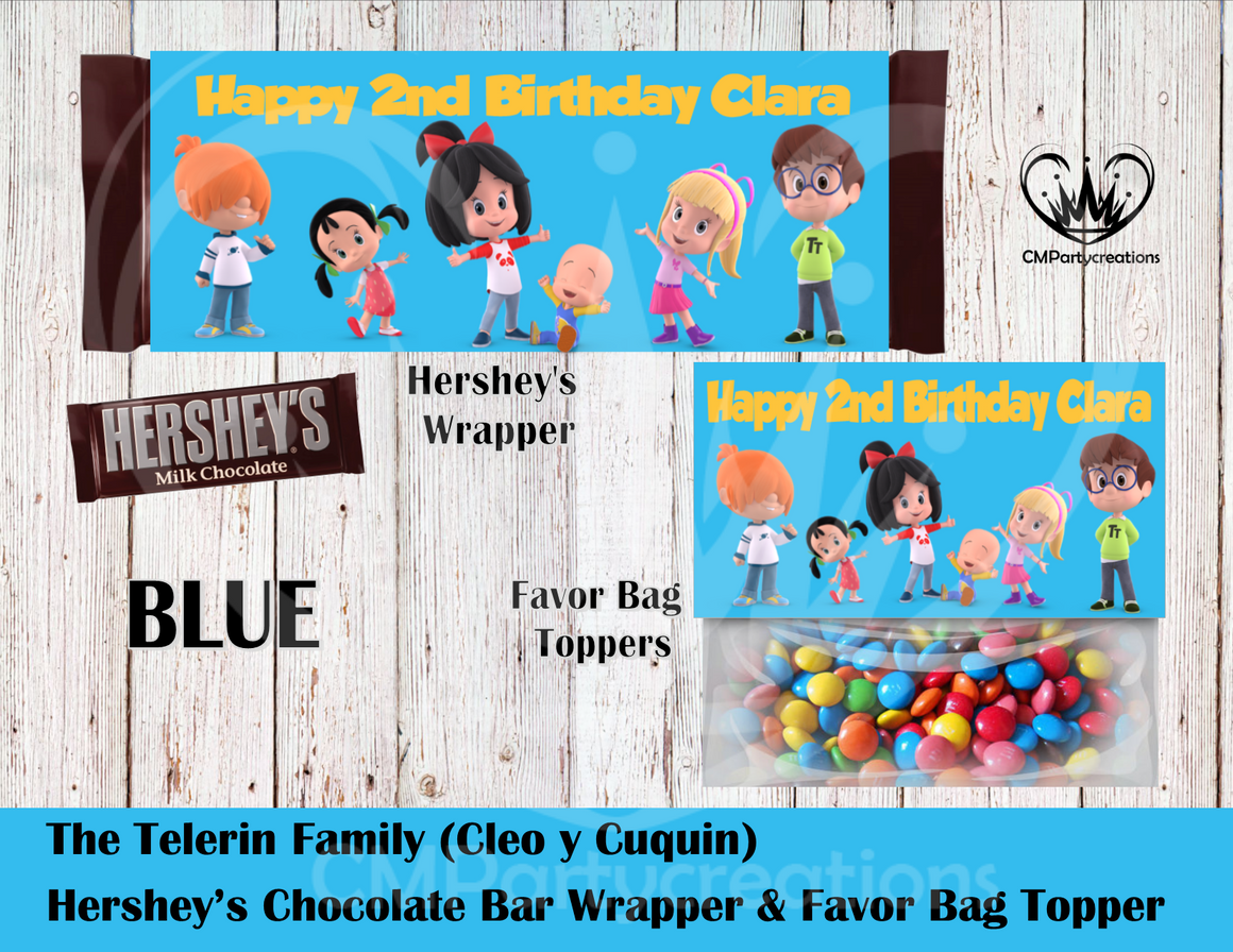 Cleo y Cuquin Telerin Family Hershey's Wrapper and Favor Bag Toppers