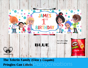 Cleo y Cuquin Telerin Family Pringles Can and Lid Labels