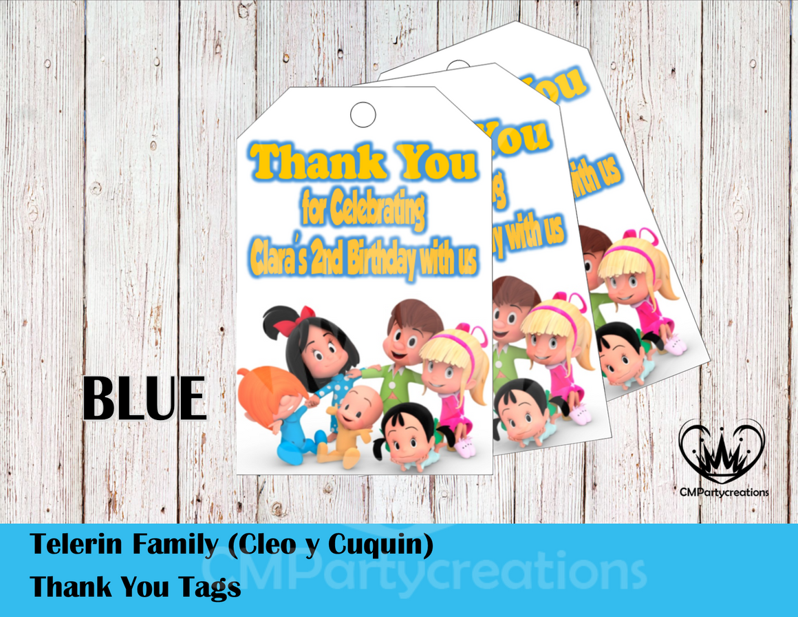 Cleo y Cuquin Telerin Family Personalized Thank You Tags