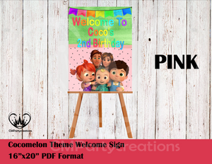 Cocomelon Poster Sign Welcome