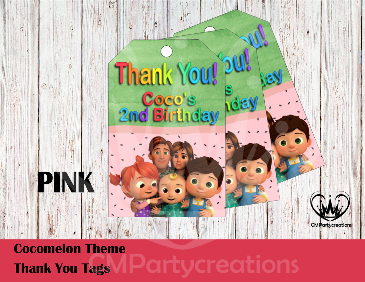 Cocomelon Personalized Thank You Tags