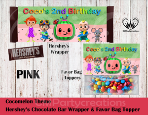 Cocomelon Hershey's Wrapper and Favor Bag Toppers