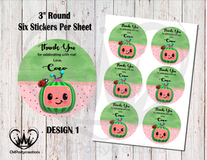 "Cocomelon 3"" Round Thank You Stickers"