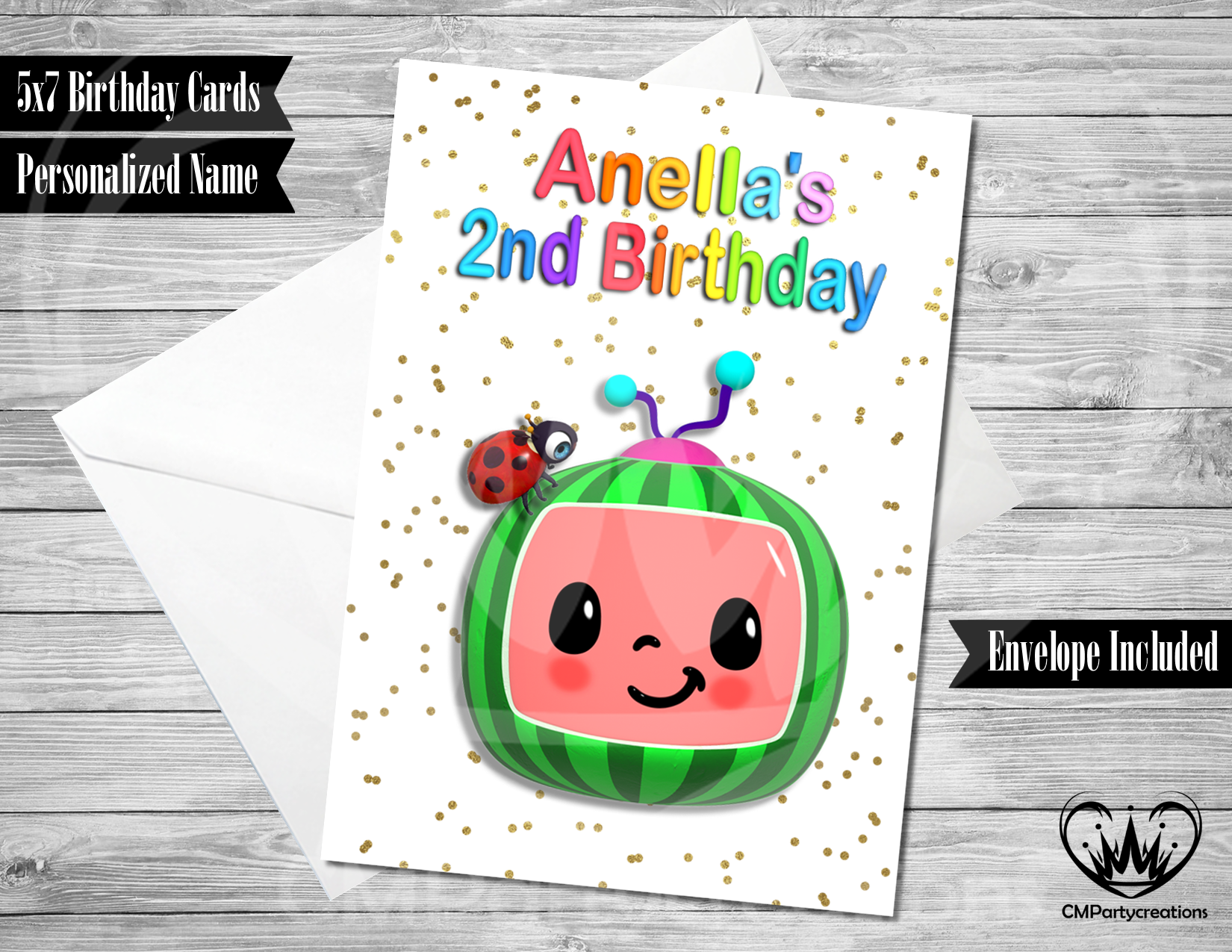 cocomelon personalized birthday card  cmpartycreations