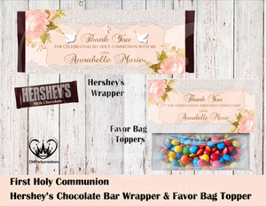 First Communion Hershey's Wrapper and Favor Bag Toppers