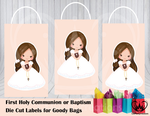 First Communion or Baptism Die Cut Goody Bag Labels