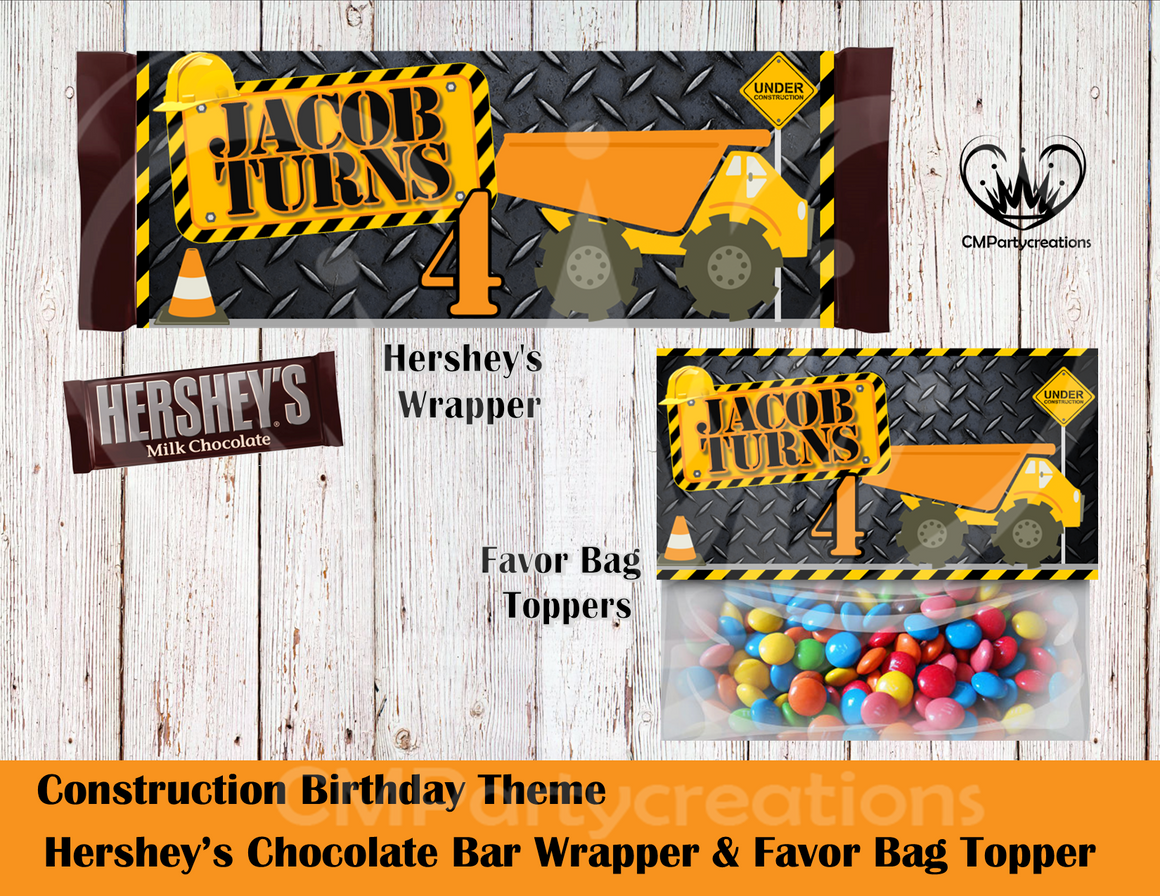 Construction Hershey's Wrapper and Favor Bag Toppers