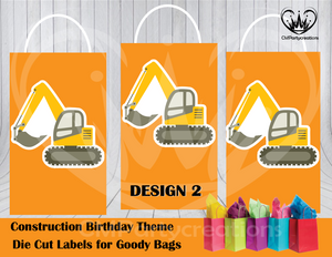 Construction Die Cut Goody Bag Labels