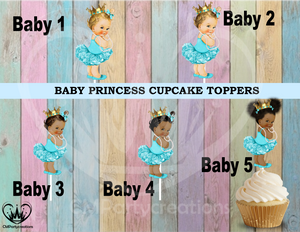 Princess Baby Turquoise Tutu Gold Crown Cupcake Toppers