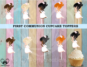 First Communion Party Cupcake Toppers