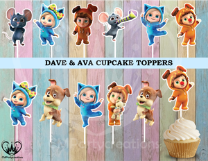 Dave & Ava Birthday Cupcake Toppers Die Cuts