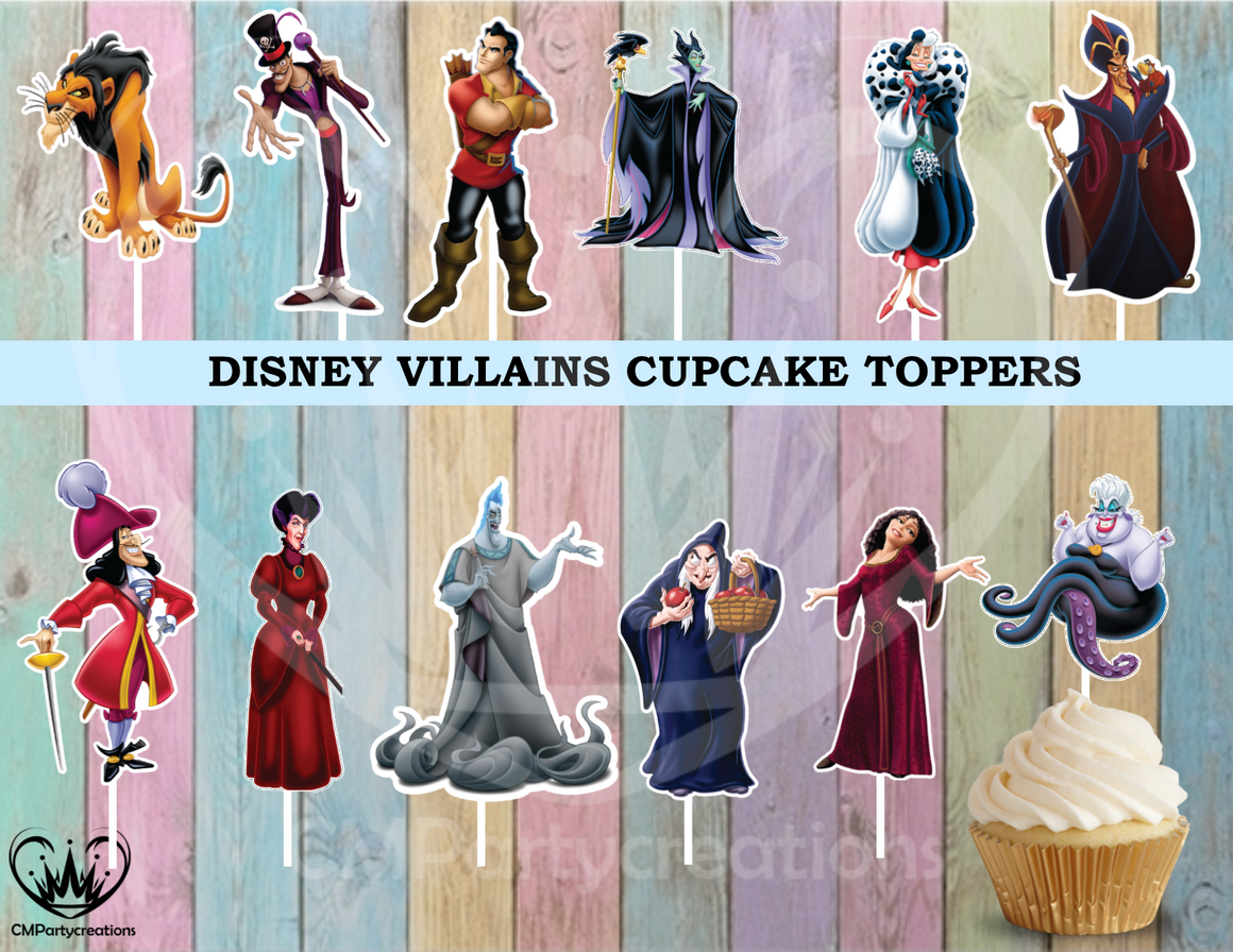 Disney Villains Birthday Party Cupcake Toppers Die Cuts
