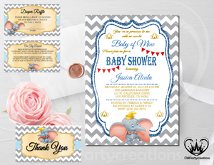 Dumbo Baby Shower Invitation Blue