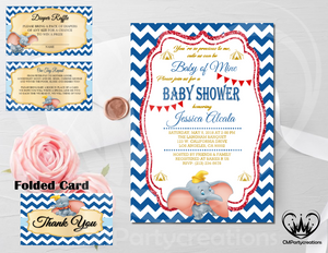 Dumbo Baby Shower Invitation Pink
