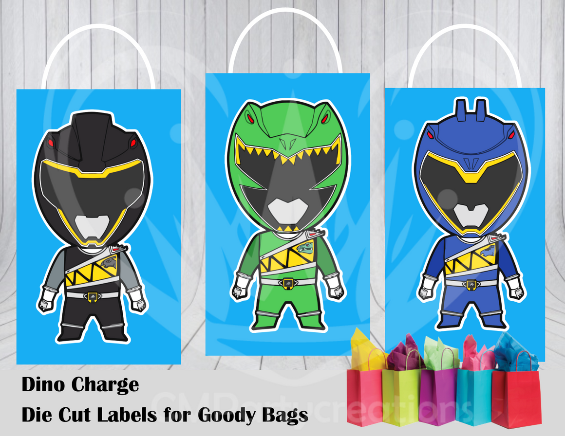 Dino Charge Die Cut Goody Bag Labels