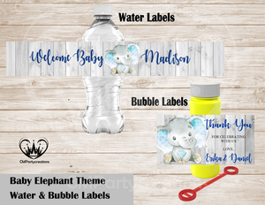 Baby Elephant Theme Water & Bubble Labels