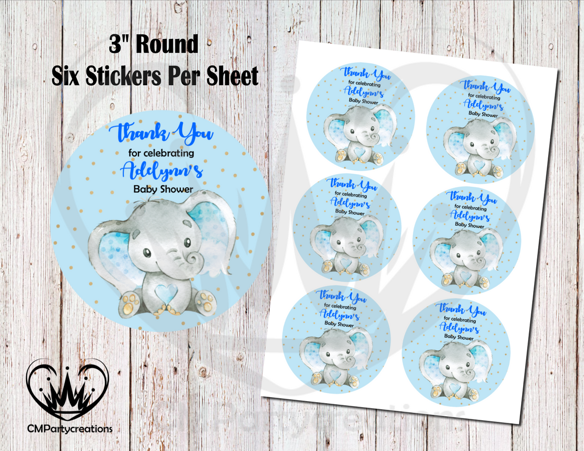 "Elephant Baby Dots 3"" Round Thank You Stickers"