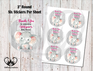 "Elephant Baby Wood 3"" Round Thank You Stickers"