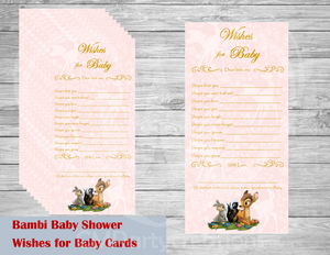Bambi Baby Shower Wishes for Baby Cards