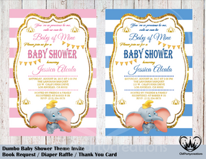 Dumbo Baby Shower Invitation Gold Accents