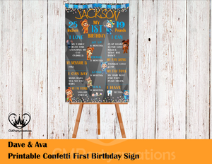 Dave and Ava Poster Confetti Birthday Sign