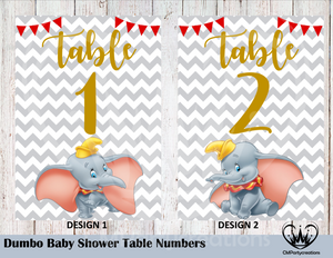Dumbo Baby Shower Table Numbers, Baby Shower Table Numbers, Printed