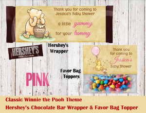 Classic Winnie The Pooh Hershey's Wrapper and Favor Bag Toppers
