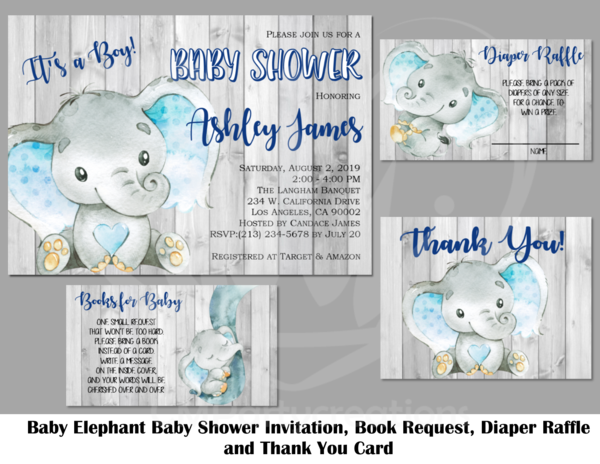 Elephant Baby Shower Invitation Its a Boy