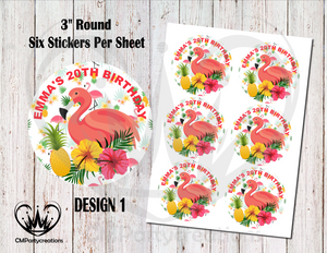 "Flamingo 3"" Round Stickers"