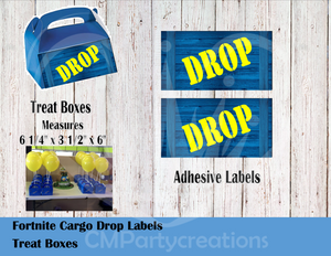 Fortnite Die Cut Drop Treat Boxes Labels
