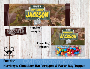 Fortnite Hershey's Wrapper and Favor Bag Toppers