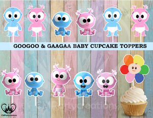 GooGoo GaaGaa Birthday Party Cupcake Toppers