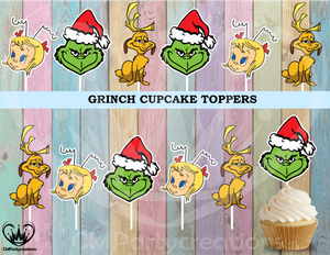 Grinch Santa Christmas Cupcake Toppers