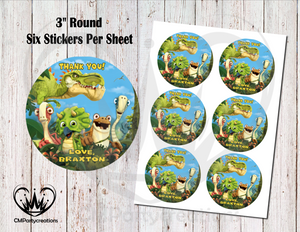 "Gigantosaurus 3"" Round Thank You Stickers"