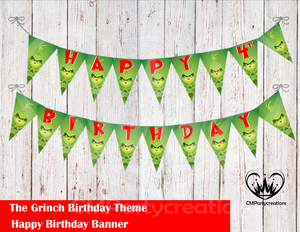 Grinch Banner Birthday Party