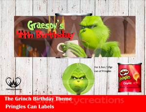Grinch Pringles Can and Lid Labels