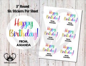 "Happy Birthday 3"" Round Stickers"