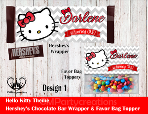 Hello Kitty Party Hershey's Wrapper and Favor Bag Toppers