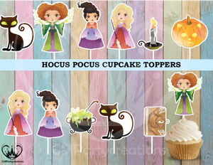 Hocus Pocus Birthday Party Cupcake Toppers Die Cuts