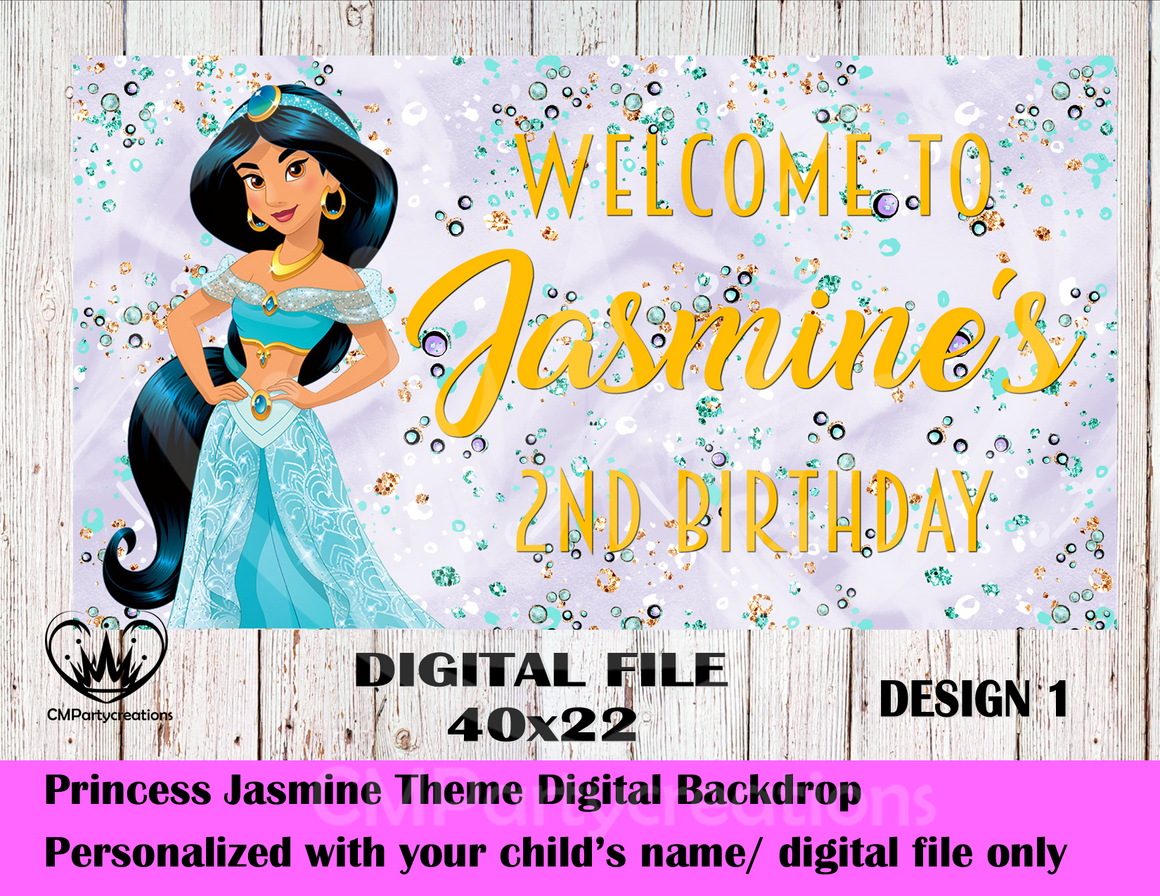 Jasmine Personalized Backdrop **IMAGE ONLY***