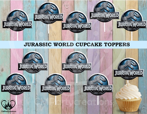 Jurassic World Birthday Cupcake Toppers