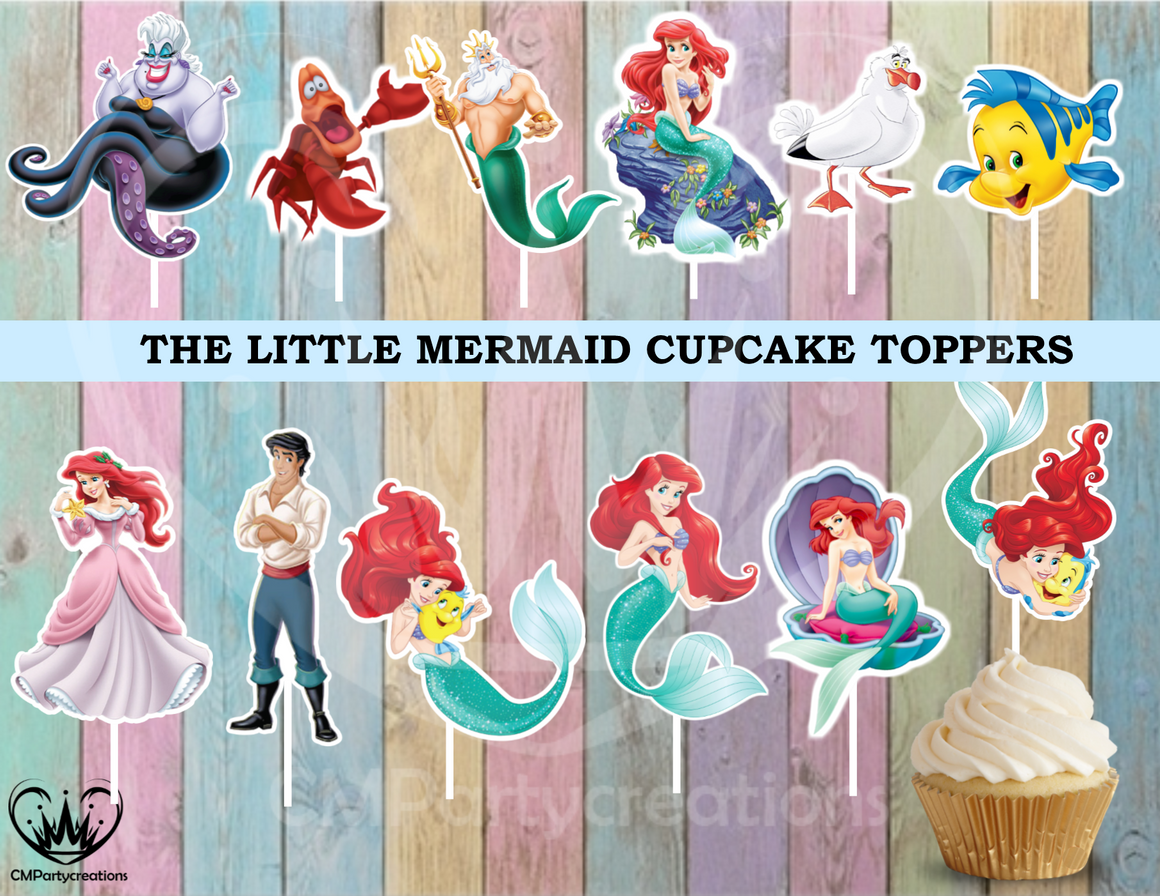 The Little Mermaid Birthday Party Cupcake Toppers Die Cuts