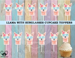 Llama with Sunglasses Cupcake Toppers