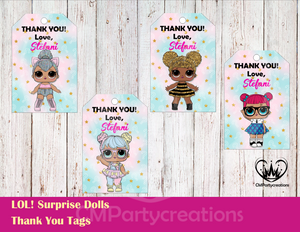 LOL Surprise Dolls Personalized Thank You Tags