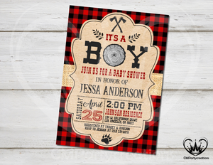 Lumberjack Baby Shower Invitation
