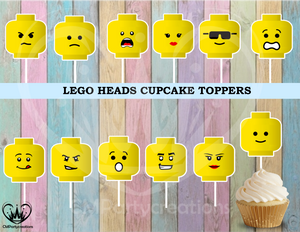 Lego Heads Birthday Party Cupcake Toppers