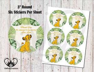 Lion King Round Thank You Stickers