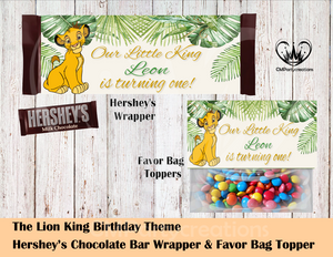 Lion King Hershey's Wrapper and Favor Bag Toppers